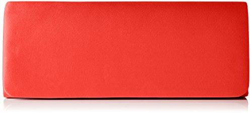 Berydale Damen Satin Handtasche, Clutch, Schultertasche mit Zusatzkette, Rot