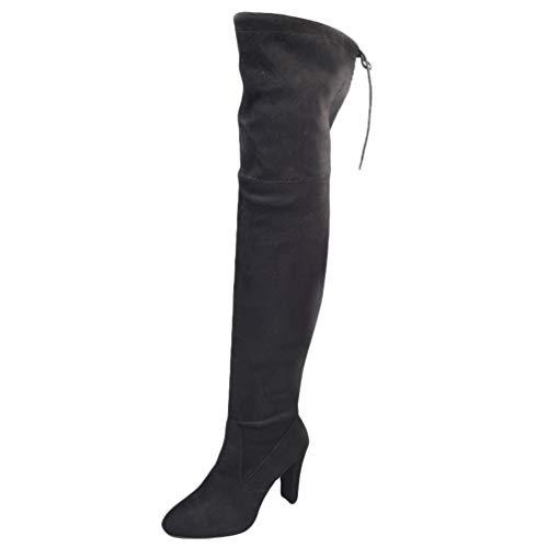 WanYangg Hiver Boots Femme a Talon Bottine Chelsea Plates Classique en Daim Bottines à Lacets Cuissarde Botte Haute Suède Bottes Cuissardes Bottines Nero 43EU