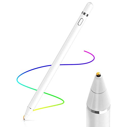 AICase Aktiver Stylus,Tablet Stift Eingabestift Touchstift,1,45-mm-Spitze, Universal Touchscreen-Eingabestift mit integr. Akku, Passend für Smartphones, Tablets, Apple iPhone/iPad, Weiß