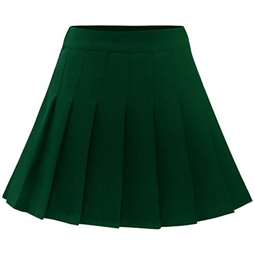 Wedtrend Falda Plisada de Mujer Corta de Rayas Minifalda de Tenis Skater de Cintura Alta Faldas de colegialas WTC10039 Darkgreen M
