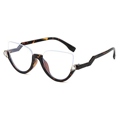 ZZOW Moda Medio Marco Ojo De Gato Gafas De Sol De Diamantes De Lujo Mujeres Gradiente Espejo Gafas Vintage Hombres Marco De Gafas Anti-BLU-Ray