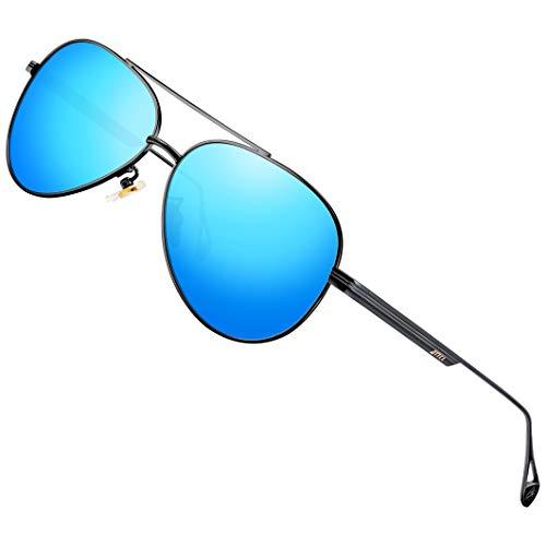 ATTCL - Gafas de sol polarizadas vintage para conducir para hombre y mujer, estilo retro clásico, Azul (Espejo negro/azul.), Medium