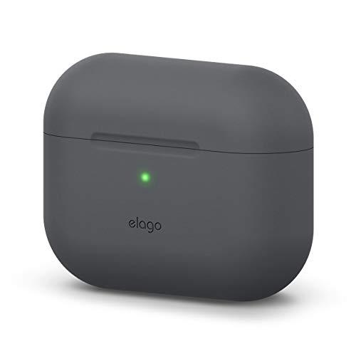 elago Original Silikon Hülle Schutzhülle Case Kompatibel mit Apple AirPods Pro (2019) – 360 Grad Voller Schutz, Hochwertiges Silikon [Passform Getestet] (ohne Karabiner, Dunkelgrau)