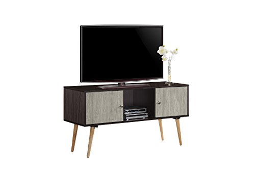 Hodedah Retro Style TV Stand with Two Storage Doors, and Solid Wood Legs, Chocolate