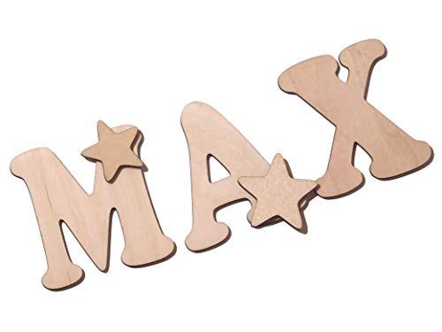 Holzbuchstaben/Buchstabenrohling 7cm zum bemalen. Als Wunschname individualisierbar/Preis bezieht sich auf drei Buchstaben inkl. Dekosternen. Buchstaben von A-Z vorhanden keine Sonderzeichen.
