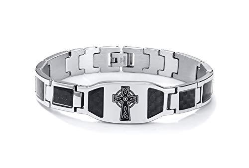 PJ Jewelry Men's Trinity Celtic Cross Triquetra Irish Knot Bracelet Stainless Steel Carbon Fiber Inlay Wristband