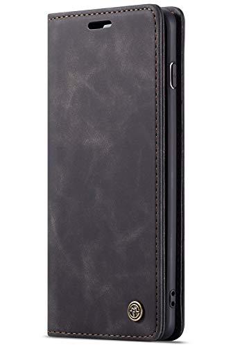 Handyhülle, Premium Leder Flip Schutzhülle Schlanke Brieftasche Hülle Flip Case Handytasche Lederhülle mit Kartenfach Etui Tasche Cover für Samsung Galaxy,Samsung Galaxy S10 plus,Schwarz