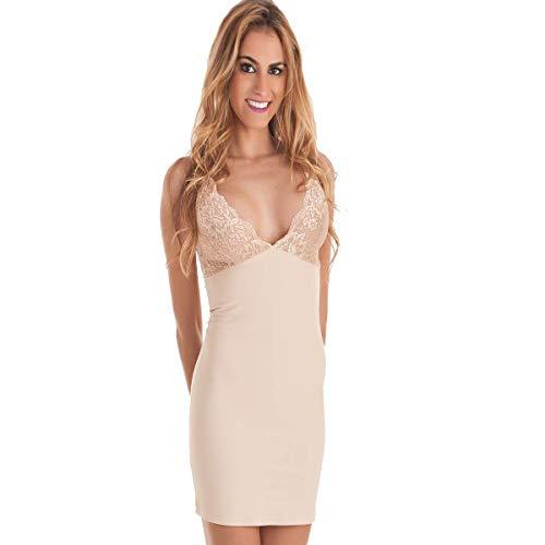 Mariola 70443 Vestido Body Shapewear Reductor Moldeador para Mujer con Tirantes (L), Beige