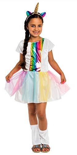 Magicoo Regenboog eenhoorn kostuum kinderen meisjes incl. eenhoorn jurk carnavalskostuum Unicorn Large-110-116 Pink/Weiß/Lila/Blau