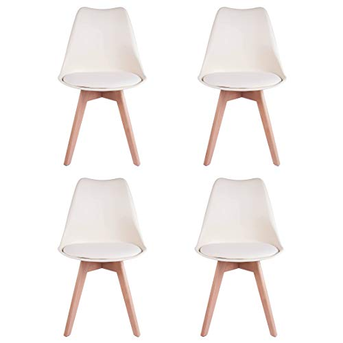 Juego de 4 sillas de Comedor de plástico sólido con Patas de Madera Maciza Acolchadas de Poliuretano