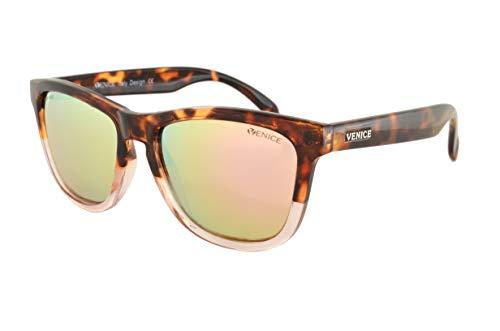VENICE EYEWEAR OCCHIALI Gafas de sol unisex polarizadas con protección 100% UV400.(Carey Transparente-espejo rosa)
