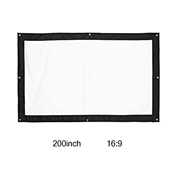 HD Projector Screen 200 Inch 16 9 Foldable Wall Mount Outdoor Indoor Film Movie Projector Folding Projection Screen Curtain for Travel Office Home Theater Church
