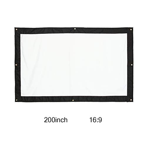 HD Projector Screen, 200 Inch 16:9 Foldable Wall Mount Outdoor Indoor Film Movie Projector Folding Projection Screen Curtain for Travel Office Home Theater Church