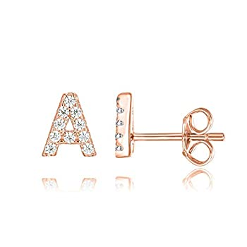PAVOI 14K Rose Gold Plated Sterling Silver CZ Alphabet Letter Earrings   Initial Earrings for Girls   Letter A