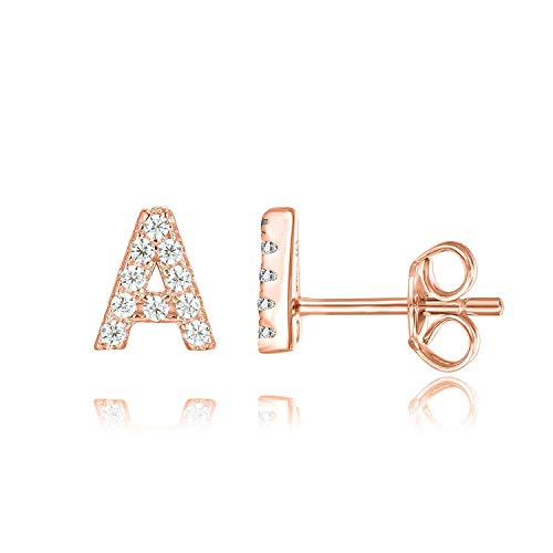PAVOI 14K Rose Gold Plated Sterling Silver CZ Alphabet Letter Earrings | Initial Earrings for Girls | Letter A