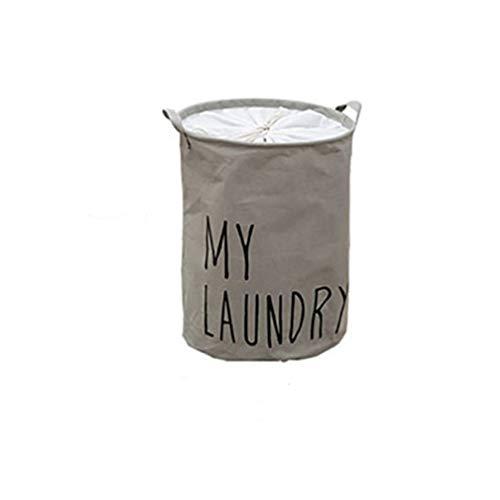 Chao Opvouwbare ronde waterdichte katoenen en linnen wasmand, vuile wasgoed-opbergemmer met trekkoord, stofdicht, geschikt voor kantoor, slaapkamer