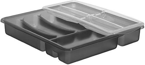 Rotho Basic Cubertero con 6 Compartimentos, Plástico (PP) sin BPA, Antracita, 39.0 x 32.0 x 7.0 cm