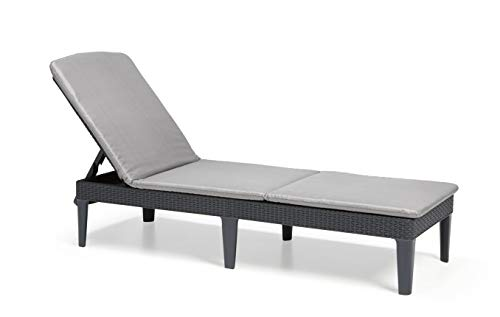 Keter Jaipur Sunlounger, Graphite with Grey Cushions