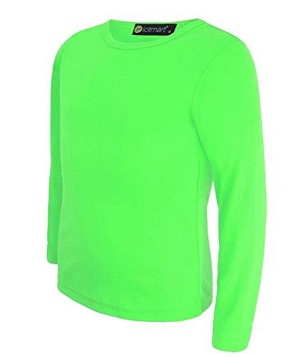 LOTMART - Camiseta básica entallada de cuello redondo y manga larga para niños.