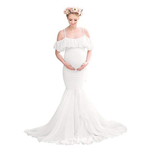 Vestito da donna per supporto fotografico, maxi abito da gravidanza in chiffon train, senza...