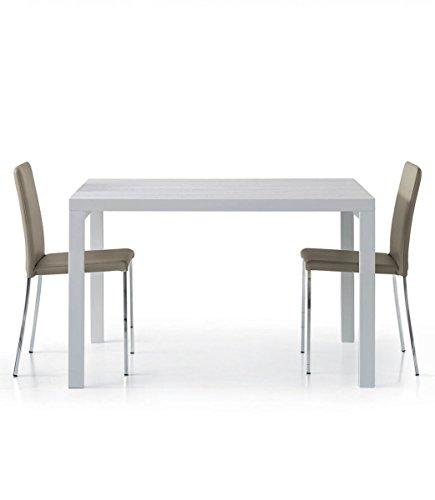 Spazio Casa Tavolo Rettangolare Bianco Frassinato 120x90 Allungabile - 120 x 90, Bianco
