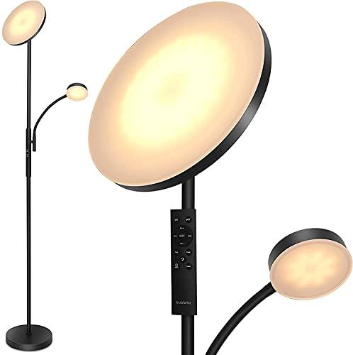 Lámpara de Pie LED Regulable, Lámpara de Suelo Metálica, Luz de Lectura Moderna, 3000K-6000K Luz de Pie con Control Táctil y Mando a Distancia Para Sala de Estar, Dormitorio, Oficina, Estudio
