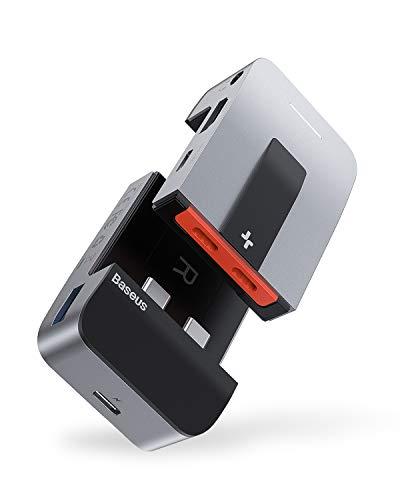 Baseus USB C Hub Adapter für MacBook Pro 2020/2019/2018/2017, MacBook Air, 9-in-1 Typ C-Hub mit 2 Thunderbolt 3-Ports, 4K HDMI, RJ45-Ethernet, USB-C-Datenanschluss, 3 USB 3.0, 3.5mm Jack Audio Port