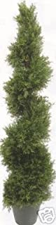 One 5 Foot 4 Inch Artificial Cypress Spiral Topiary Tree Potted Indoor or Outdoor