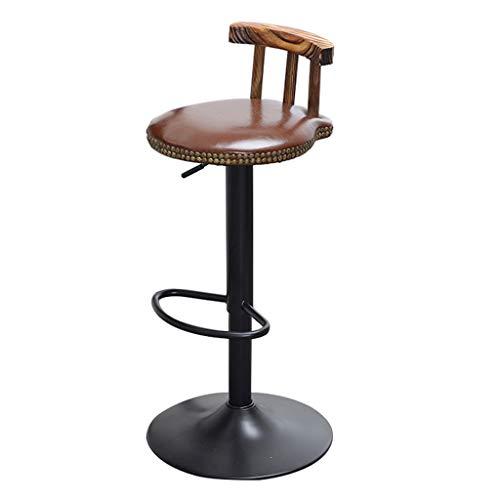 Tabouret de bar Rétro Style Industriel Tabouret De Bar Métal Cuisine Petit Déjeuner Tabouret Chaise Ronde Réglable En Hauteur Chaise Pivotante (Réglage: 62-82CM) (Couleur : Brown)
