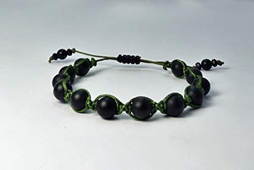 Shamballa-Armband aus Jade Naturstein Perlen mit dunkelgrün Macramee Band, verstellbar ab 16cm