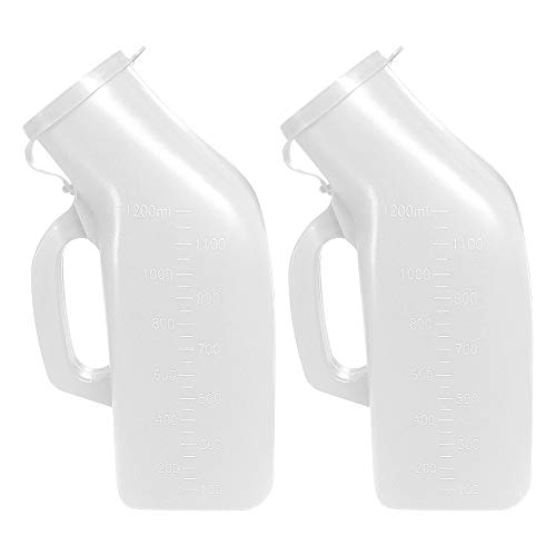 Urinals for Men Thick Firm Portable Urinal Urine Collection for Hospital Incontinence Elderly Travel Bottle and Emergency 2 Packs1200ml 2 White