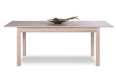 lifestyle4living Esstisch in Sonoma Eiche Nachbildung mit 1 Auszugsplatte, ummantelte Stollen als Tischbeine,Maße: B/H/T ca. 120-160/76,5/70 cm
