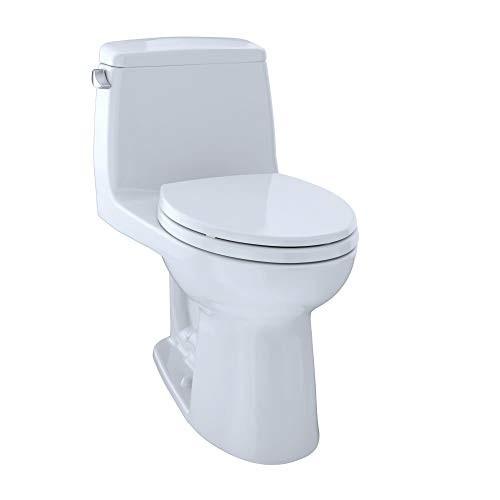 TOTO MS854114ELG#01 Eco Ultramax ADA Elongated One Piece Toilet with Sanagloss, Cotton White,31.8 x 28.9 x 19.3 inches