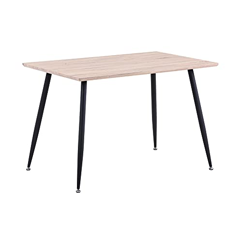 GOLDIN Wood Dining Table Modern Kitchen Table with Black Metal Legs Rectangular Dining Room Living Room Table, Brown (Only Table)
