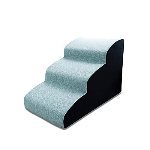 Galatée Escaleras para Mascotas, Rampa para Mascotas Extraíble y Lavable, Escalones para Perros De Espuma De Alta Densidad 3 Niveles Escalera para Subir Mascotas(Azul)