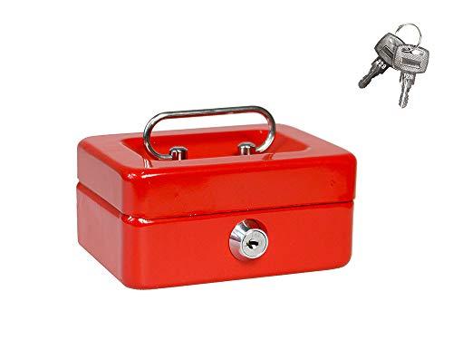 Vetrineinrete® Cassetta salvadanaio portavalori scomparto estraibile portamonete con fessura in metallo vassoio divisorio 12.5 x 9.5 x 6cm D49