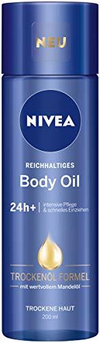 NIVEA Reichhaltiges Body Oil im 3er Pack (3 x 200 ml), Körperöl mit innovativer Trockenöl Formel und 24h+ intensive Pflege für trockene Haut, Körperpflege mit Mandelöl zieht schnell ein