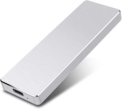 2TB esterno Hard Drive, portatile Hard Drive esterno Type-C/USB 2.0 HDD per Mac Laptop PC(2TB-Silver-b)