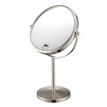 Magnifying Makeup Mirror 8-Inch Double Sided Vanity Tabletop Mirror with 10X Magnification Nickel Finished ALHAKIN