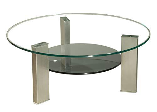 Brisbane1322-A tischdesign24 Couchtisch mit einer 12mm starken Klarglas Platte. Ablage in Parsolglas. Stollen in 100x40mm echt Edelstahl gebürstet und versiegelt. Größe: 90cm Rund Höhe: 42cm