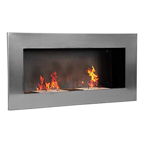 HOMCOM Cheminée bioéthanol Murale Design Bauhaus - Double brûleur 3 L - dim. 110L x 14l x 54H cm - Couverture 25-30 m² - Acier INOX. brossé