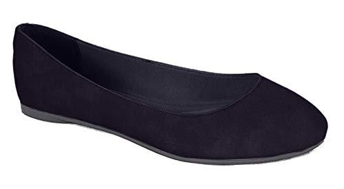 SODA Women's Redbud-S Round Toe Ballet Flat Shoes (Black Suede Nbpu, 7.5 M US)