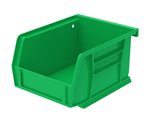 Akro-Mils 30210 AkroBins Plastic Storage Bin Hanging Stacking Containers, (5-Inch x 4-Inch x 3-Inch), Green, (24-Pack)