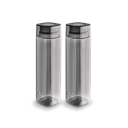 Cello H2O Squaremate Plastic Water Bottle, 1-Liter, Set of 2, Black