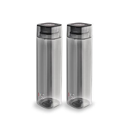 Cello H2O Squaremate Plastic Water Bottle, 1-Liter, Set of 2, Black