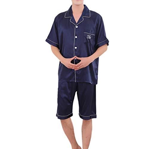 MRULIC Valentinstag Schlafanzug Sets Herren Kurzarm Nachtwäsche Frühling und Sommer Komfortable Pyjamas für Zuhause(Blau,EU-M/CN-L)