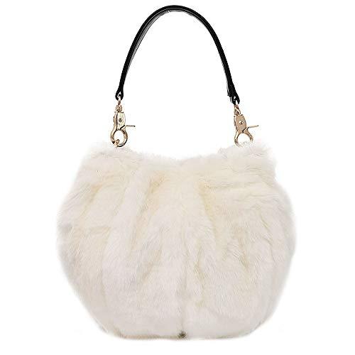 Damen Kunstfell Eimer Handtasche Plüsch Schultertasche Pelz Abend Tote Taschen, Weiß (weiß), Einheitsgröße