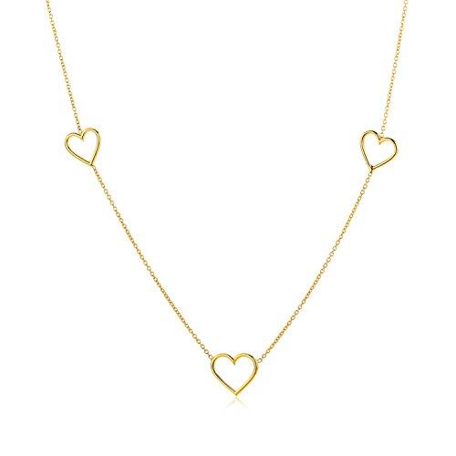 Miore Schmuck Damen Halskette mit Herzen Kette aus Gelbgold 9 Karat / 375 Gold