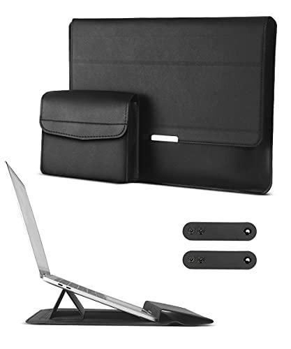 AtailorBird Laptoptasche 13 Zoll mit Standfunktion Magnetische Notebook Schutzhülle mit Zubehörtasche PU Leder Wasserdicht Slim Kompatibel mit MacBook Air,MacBook Pro 13,Huawei Matebook X 13 Schwarz