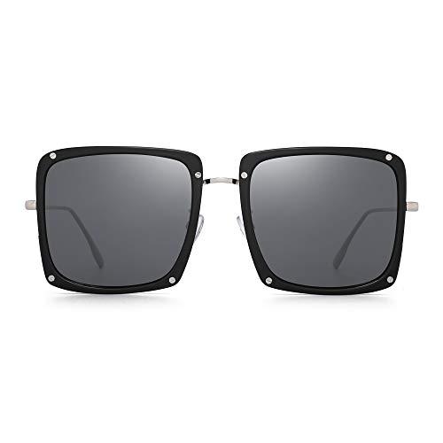 JIM HALO Gafas de sol cuadradas de gran tamaño para mujeres Hombres Diseñadores de moda Sombras planas Marco negro/Lente gris